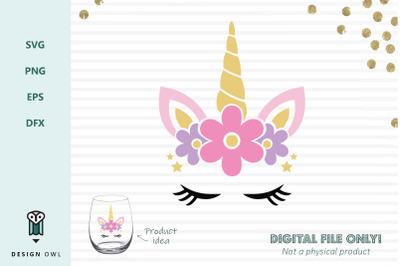 Floral unicorn face - SVG file