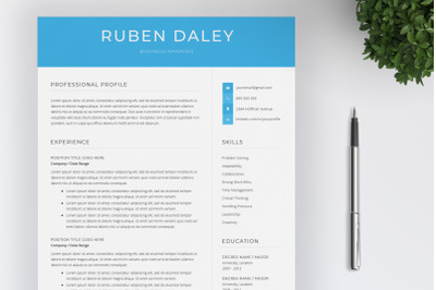 Word Resume Template   Cover Letter Instant download    US letter
