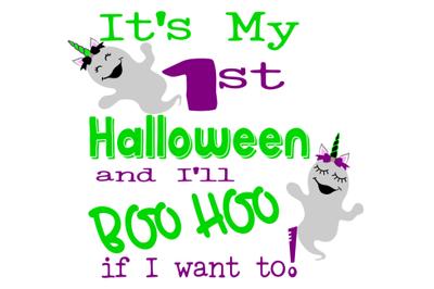 1st Halloween Unicorn Ghost SVG