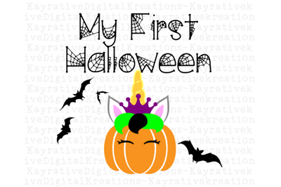 My 1st Halloween Unicorn Pumpkin SVG