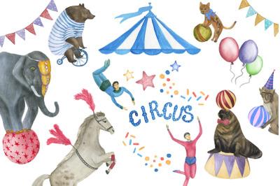 Watercolor circus patterns