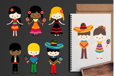 Mexican Kids Cinco de Mayo Illustrations