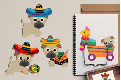 Cinco de Mayo Mexican Pugs Illustrations