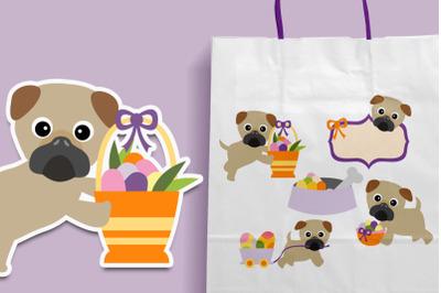 Pug Easter Illustration Graphics