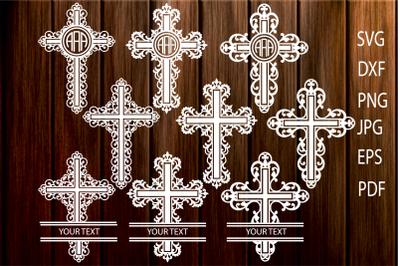 Cross SVG, Filigree Cross svg, Cross Monogram SVG, Christian Cross Cut