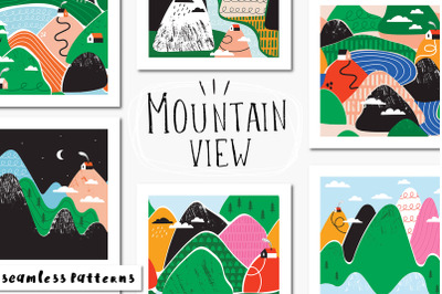 Mountain view seamless patterns