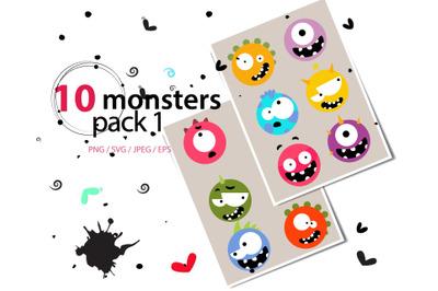 Monster Pack I high res svg, png, eps, jpeg, sticker
