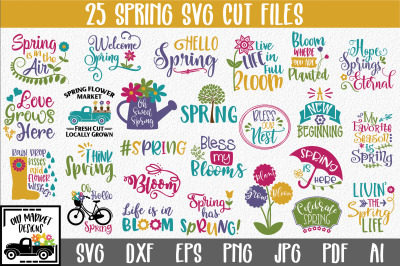 Spring SVG Bundle with 25 SVG Cut Files-DXF-EPS-PNG-JPG
