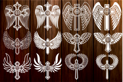 Cross with Wings Monogram Frame svg, Cross SVG, Wings Cross Svg