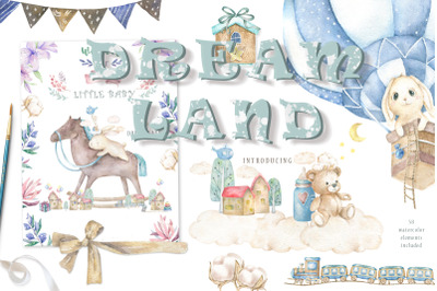 Dream Land Watercolor Bunnys
