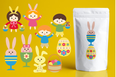 Easter bunnies and kids illustrations