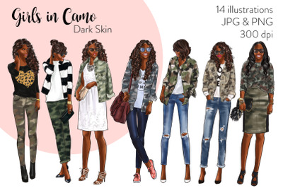 Watercolor Fashion Clipart - Girls in Camo - Dark Skin