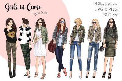 Watercolor Fashion Clipart - Girls in Camo - Light Skin
