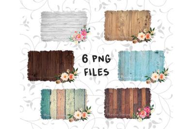 Sublimation Wood Background PNG Bundle, Rustic Watercolor Frame Design