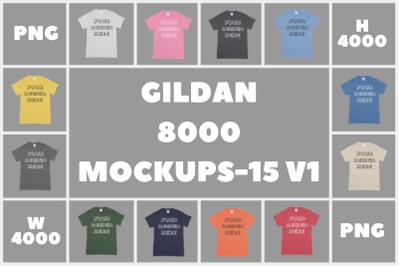 Gildan 8000 DryBlend Adult T-Shirt Mockups V1 - PNG