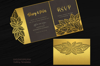 Leaves Tri Fold Trifold envelope wedding invitation svg dxf laser cut