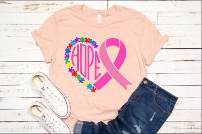 Hope Heart Ribbon Puzzle Autism Awareness SVG 1349s