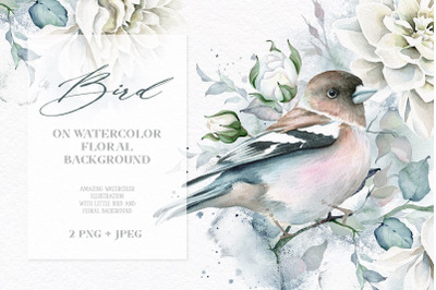 Watercolor Bird and Flowers $3 ONLY