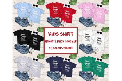 Kids Front & Back Tshirt Mockup Bundle, Toddler Back View Shirt