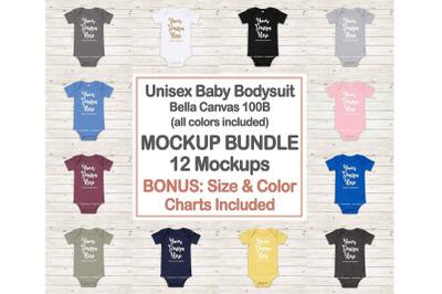 Bella Canvas 100B Baby Bodysuit Mockup Bundle, Newborn Onepiece Mockup