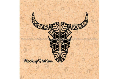 Longhorn Skull Mandala Zentangle Boho Texas Decor svg