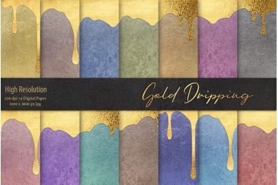 Gold Dripping Digital Paper