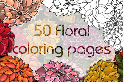 Floral Anti-stress Coloring Book for Adults