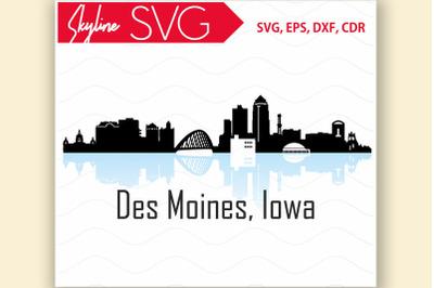 Des Moines SVG Iowa City Skyline