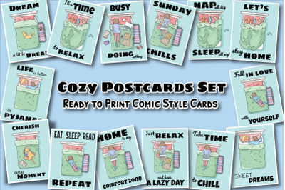 Comic Style Cozy Postcards