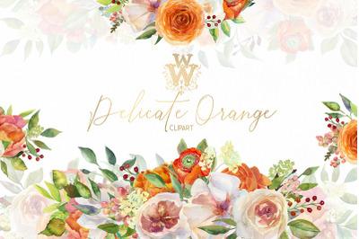 Watercolor orange flower border clip art ,Peach Pink peonies