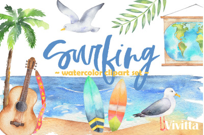 Surfing collection watercolor cliparts