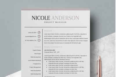 Resume Template / CV Template - Nicole