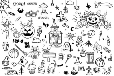 Halloween doodle cartoon collection