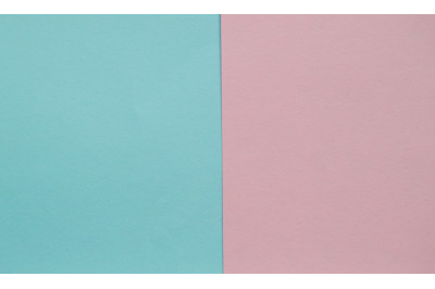 Blue and pink pastel color paper geometric flat lay two backgrounds si