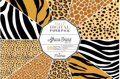 Digital Paper Pack   I   Africa Skins Set 01