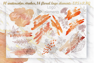 Watercolor Strokes Floral Logo Elements