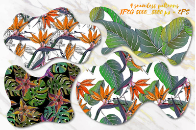 4 Floral Exotic Seamless Patterns SALE!!