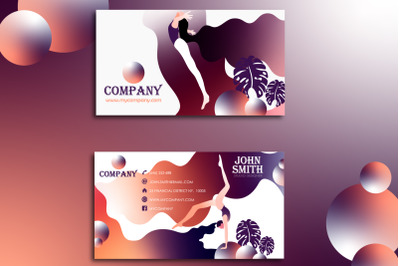 Creative Two-sided Vector business card in flat style