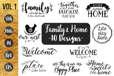 FAMILY & HOME Vol1 - SVG Cut file