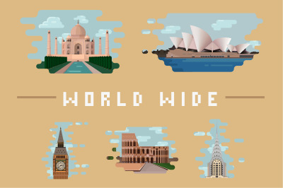 World Wide - Architectural landmark illustrations collection