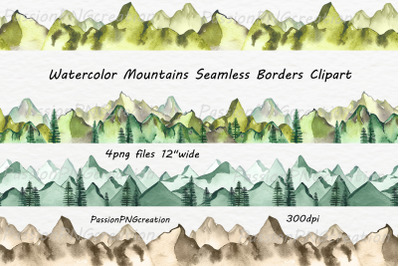 Watercolor Mountains Seamless Borders Clipart