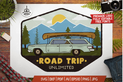 Road Trip Mountain Logo / Vintage Camp Badge Patch SVG File