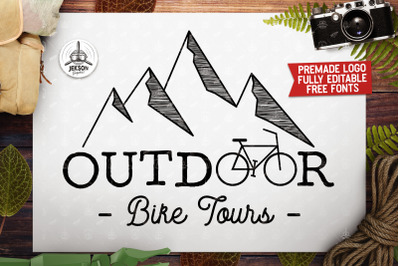Vintage Outdoor Bike Tours Logo / Label Templates