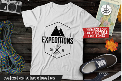 Vintage Hiking Logo / Expedition Label Templates SVG Vector