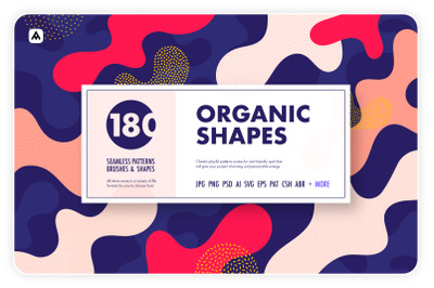 Organic shapes bundle  180 seamless textures, brushes & design element