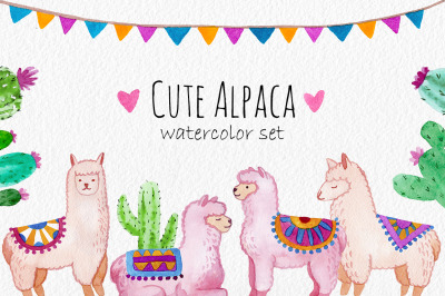 Cute Alpaca. Watercolor clipart set