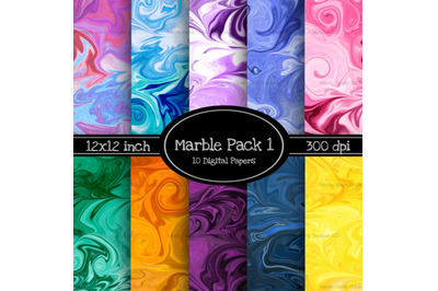 Marbled 12x12 Inch Paper Pack 1 - With 10 BONUS Papers