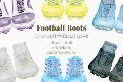 Watercolor Clipart Football Boots