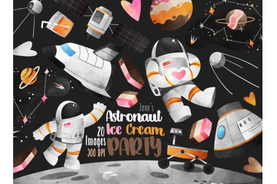 Watercolor Astronaut Party Clipart