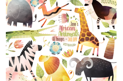 Watercolor African Animals Clipart